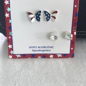 NEW Patriotic Butterfly & Rhinestone Earrings Set